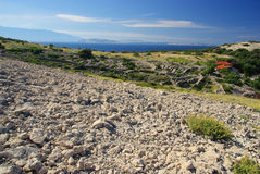 Dry stone wall Stara Baska Royalty Free Stock Image