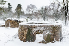 Snow - Dry Stone wall structures - Animal Shelters - North Yorkshire Royalty Free Stock Image
