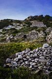 Dry stone walls and structures royalty free stock photo