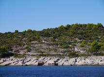 Dry stone walls. On the island Kaprije in the Adriatiac sea of Croatia royalty free stock image
