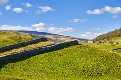 Dry stone walls in countryside Royalty Free Stock Photo