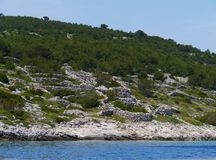 Dry stone walls on a Croatian island Stock Images