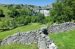 Dry stone Walls - Yorkshire Dales, England. Traditional dry stone walls in the rural landscape near Malham, Yorkshire Dales, England, UK Royalty Free Stock Photography