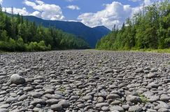 Dry stony river bed. Sunny summer day, early August. The Oka Sayanskaya River in the Orkho-Bom gorge. East Sayan. Buryatia, Siberia, Russia Stock Photo