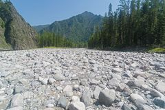 Dry stony river bed. Sunny summer day, the end of July. The Oka Sayanskaya River in the Orkho-Bom gorge. East Sayan. Buryatia, Siberia, Russia Royalty Free Stock Photography