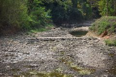 Dry stony river bed. Sunny summer day Royalty Free Stock Images