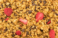 Dry strawberries and cereals close up. Dry strawberries and cereal shot close up royalty free stock photography