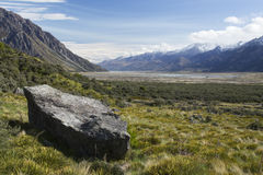 Dry Tasman River valley in spring, New Zealand Royalty Free Stock Image