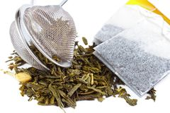 Dry tea. With strainer and tea bags Royalty Free Stock Photography