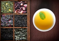 Dry Tea Assortment In Wooden Box With White Cup Royalty Free Stock Images
