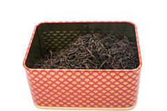 Dry tea in a box Stock Photo