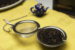 Dry Tea Leaves In Strainer On Table Napkin Stock Image