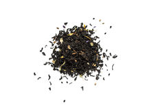 Dry tea leaves on a white background Stock Image