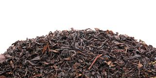 Dry tea leaves on white background, top view stock photo