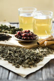 Dry tea, mint and dog-rose Royalty Free Stock Photo