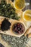 Dry tea, mint and dog-rose Royalty Free Stock Image