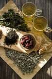 Dry tea, mint and dog-rose Royalty Free Stock Photos