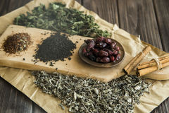 Dry tea, mint and dog-rose Stock Images