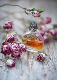 Dry tea roses and vintage perfume bottle on the old wood Stock Image