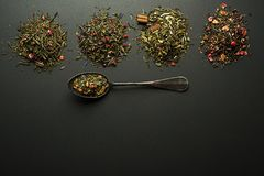 Dry teas spices and herbs collection royalty free stock image