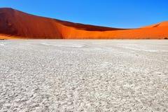Dry terrain and red dune, Namibia, Deadvlei, Sossuvlei Stock Images