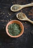 Dry thyme in a clay bowl Royalty Free Stock Image