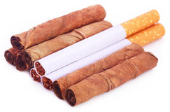 Dry tobacco leaves with cigarette Stock Photography