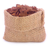 Dry tobacco leaves in sack Royalty Free Stock Images