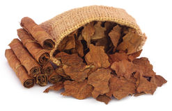 Dry tobacco leaves in sack Royalty Free Stock Photography