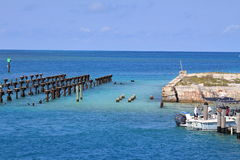 Dry Tortugas National park. Dock ruins at Dry Tortugas national park key west Fl Royalty Free Stock Images