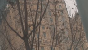 Dry tree branches in front of Moscow State University on reconstruction stock footage