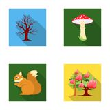 Dry tree, protein, poisonous fungus, wildfire.Forest set collection icons in flat style vector symbol stock illustration Royalty Free Stock Photos