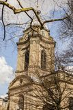 BIRMINGHAM, UK - March 2018 Dry Twigs and Boughs Partly Covering St. Philip Cathedral in Central Birmingham. Dome or. Dry Twigs and Boughs Partly Covering St stock image