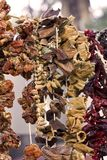 Dry vegetables and spices on ropes stock images