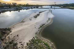 Dry Vistula river in Warsaw, Poland Royalty Free Stock Photography