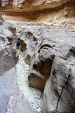 Dry wadi landscape in Jordan desert. Royalty Free Stock Photos