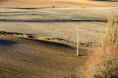 Landscape in Castile and Leon, Spain. Dry and warm landscape in winter in the fields of Peleas de Arriba, Province of Zamora, Castile and Leon, Spain Stock Image