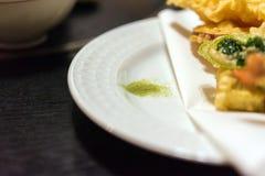 Dry wasabi, seasoning. Japanese Cuisine - Tempura Shrimps, Tokyo, Japan. Close-up. With selective focus. stock photos