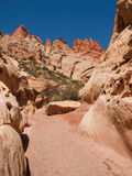 Dry wash in red, white sandstone canyon Royalty Free Stock Photos