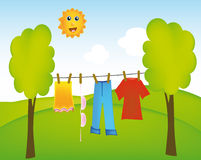 Dry washing in landscape Royalty Free Stock Images