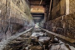 Dry water channel on the Danube in Regensburg, Germany.  royalty free stock image