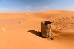 Dry water well in Erg chebbi desert, Merzouga, Morocco Stock Photos