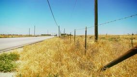 Dry Weeds along rural roadside stock footage