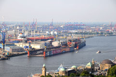 Dry and wet docks in the port of Hamburg Royalty Free Stock Image