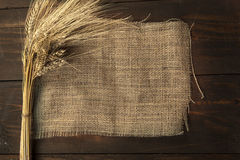 Dry wheat on a burlap Royalty Free Stock Images