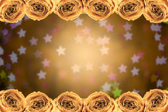Dry white rose frame on blur star bokeh. Beautiful dry white rose frame on blur star bokeh background Stock Photography