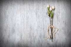 Dry white roses tied on its stem in the foreground on table Royalty Free Stock Images