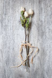 Dry white roses tied on its stem in the foreground on table Stock Photography