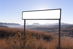 Dry Winter Rural Landscape with Blank Sign in Fore Stock Photography