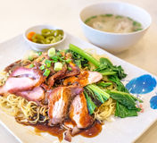 Dry Wonton Mee with Char Siew Stock Images
